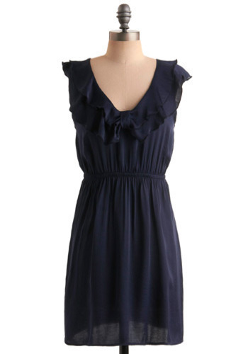 A Certain Frill Dress - Blue, Solid, Bows, Ruffles, Casual, Shift, Sleeveless, Short