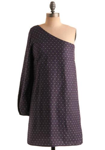 Tiled Dance Floor Dress - Blue, Purple, Floral, Casual, Sack, One Shoulder, Spring, Summer, Short