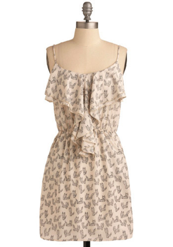 Jen Loves Kev Dress - Cream, Black, Print with Animals, Ruffles, A-line, Spaghetti Straps, Short