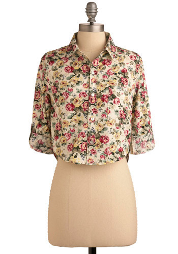 Having a Moment Top - Multi, Yellow, Green, Pink, Tan / Cream, Floral, Casual, 3/4 Sleeve, Spring, Summer, Short