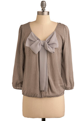 Flurry Up Top - Brown, Grey, Polka Dots, Bows, Party, Work, Casual, Long Sleeve, Mid-length