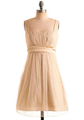 Rain in Spangles Dress in Bubbly - Cream, Gold, Solid, Wedding, Party, Luxe, A-line, Sleeveless, Tank top (2 thick straps), Formal, Prom, Mid-length, Graduation