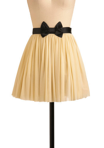 Rum Raisin Cupcake Skirt - Cream, Black, Bows, Party, Casual, Short