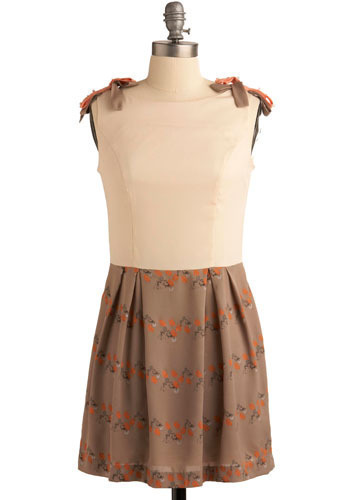 Some Bunny to Love Dress - Tan, White, Orange, Green, Solid, Floral, Epaulets, Pleats, A-line, Twofer, Sleeveless, Spring, Summer, Short, International Designer