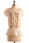 Home Canning Top - Cream, Red, Yellow, Green, Floral, Cutout, Embroidery, Lace, Trim, Casual, Short Sleeves, Spring, Summer, Mid-length