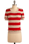 Candied Comfort Sweater - Red, Cream, Stripes, Ruffles, Sequins, Casual, Short Sleeves, Short