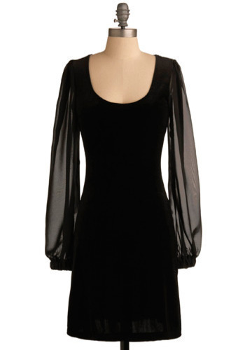 Neo Noir Dress - Black, Solid, Party, Film Noir, Shift, Long Sleeve, Winter, Mid-length