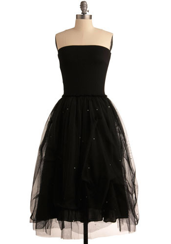 Stellar System Dress - Black, Solid, Rhinestones, Formal, Prom, Party, A-line, Strapless, Long