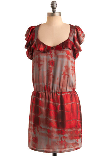 Heat Wave Dress - Red, Grey, Tie Dye, Ruffles, Casual, Drop Waist, Short Sleeves, Mid-length