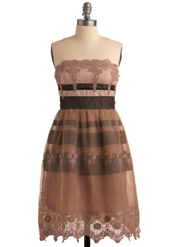 Deeply Devoted Dress - Pink, Brown, Embroidery, Lace, Trim, Special Occasion, Wedding, Party, Empire, Strapless, Mid-length