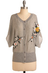Pattern Pending Cardigan - Grey, Orange, Yellow, White, Floral, Embroidery, Casual, 3/4 Sleeve, Spring, Summer, Mid-length
