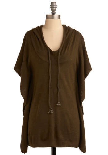 It's All Hood Top - Brown, Solid, Casual, 3/4 Sleeve, Long