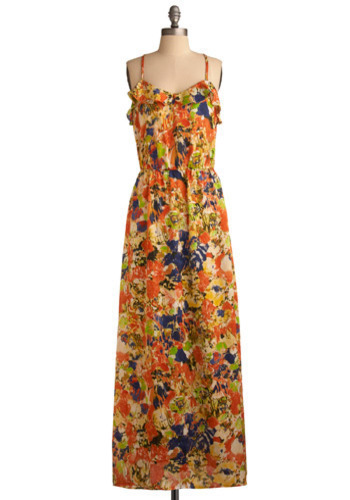 Maxi-mum Impact Dress - Orange, Multi, Green, Blue, Tan / Cream, Black, Floral, Ruffles, Casual, Maxi, Strapless, Racerback, Spring, Summer, Long