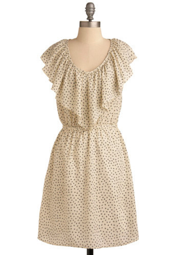The Bow Monde Dress - Cream, Black, Print, Ruffles, A-line, Cap Sleeves, Mid-length