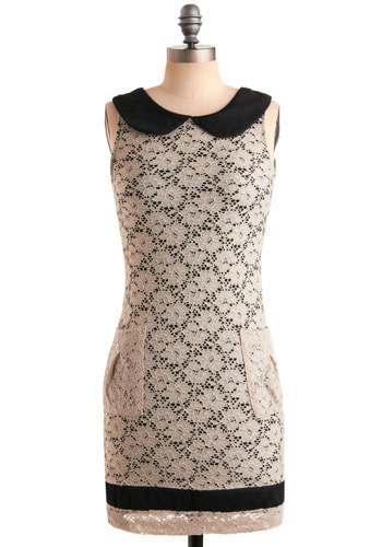 Collar ID Dress - White, Black, Floral, Lace, Pockets, Trim, Party, Casual, Shift, Sleeveless, Spring, Summer, Mid-length