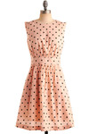 Too Much Fun Dress in Melon by Emily and Fin - Pink, Black, Polka Dots, Party, Casual, A-line, Sleeveless, Mid-length, International Designer