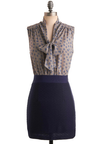 Freelance Fashionista Dress - Blue, Grey, Floral, Bows, Work, Casual, Sheath / Shift, Sleeveless, Short