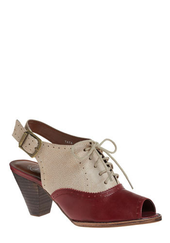 Life Is a Cabernet Heel by Jeffrey Campbell - Red, Cream, Casual, Vintage Inspired