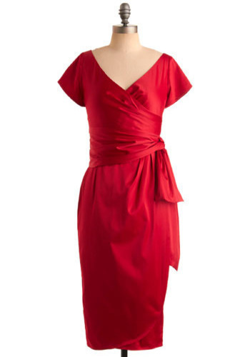 Destined for Stardom Dress by Pinup Couture - Red, Solid, Bows, Formal, Wedding, Party, Sheath / Shift, Wrap, Short Sleeves, Long, Pinup, Vintage Inspired