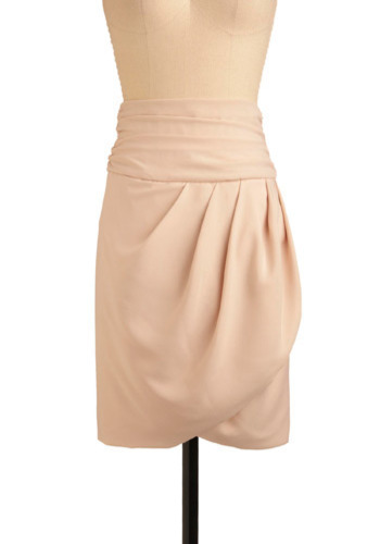 Peach Bellini Skirt - Cream, Solid, Pleats, Party, Work, Casual, Wrap, Spring, Summer, Mid-length