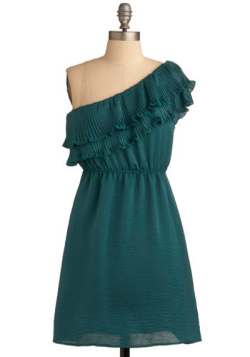 If You Pleats Dress - Green, Solid, Pleats, Ruffles, Party, A-line, One Shoulder, Short