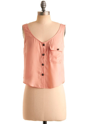 Button Rouge Tank - Pink, Solid, Buttons, Casual, Sleeveless, Tank top (2 thick straps), Spring, Summer, Short