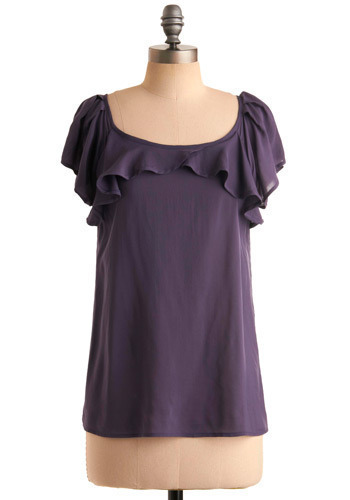 Orchid You Not Top - Purple, Solid, Ruffles, Casual, Short Sleeves, Mid-length