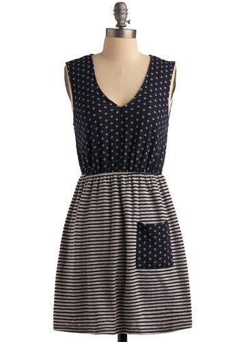 Gin Rummy Dress - Blue, White, Stripes, Casual, A-line, Twofer, Sleeveless, Short