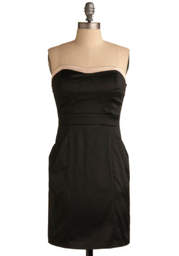 Till Sunrise Dress - Black, Pink, Solid, Pleats, Wedding, Party, Casual, Sheath / Shift, Strapless, Mid-length