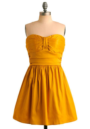Tasteful in Turmeric Dress - Yellow, Solid, Pleats, Wedding, Party, A-line, Strapless, Short