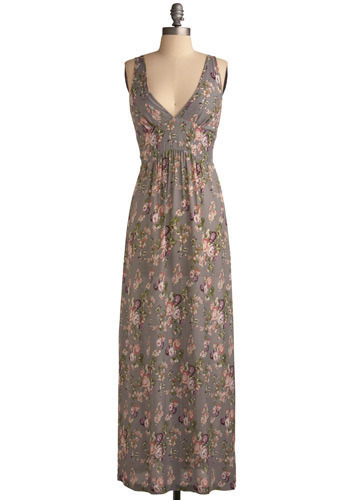 Down to the Floor-al Dress - Grey, Multi, Green, Purple, Pink, Tan / Cream, Floral, Casual, Maxi, Sleeveless, Tank top (2 thick straps), Spring, Summer, Long