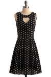 Dot Through the Heart Dress - Black, White, Polka Dots, Cutout, Pleats, Casual, A-line, Sleeveless, Mid-length