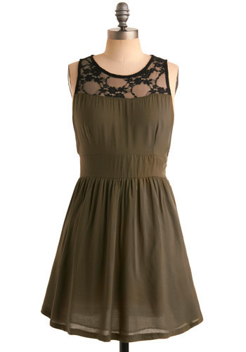 O-Live and Well Dress - Green, Black, Lace, Casual, A-line, Sleeveless, Short