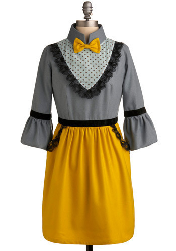 Square Dancing Queen Dress - Yellow, Grey, Black, Solid, Bows, Lace, Pockets, Trim, Party, Casual, Vintage Inspired, A-line, Twofer, 3/4 Sleeve, Spring, Summer, Fall