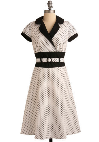 Call Me Dottie Dress - White, Black, Polka Dots, Work, Casual, Vintage Inspired, A-line, Short Sleeves, Spring, Summer, Rockabilly, Long