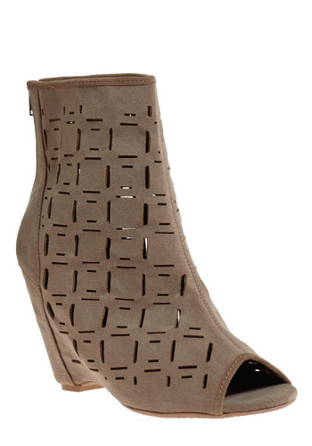 Cute It Out Bootie - Brown, Solid, Cutout, Casual