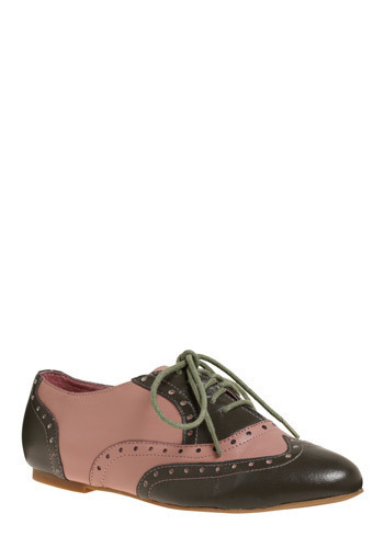 On a Wing and a Pair Flat in Brogue - Green, Pink, Casual, Menswear Inspired, Vintage Inspired