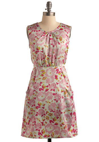 A Beautiful Mess Dress by Tulle Clothing - Pink, Cream, Yellow, Green, Floral, Pockets, Party, Casual, A-line, Sleeveless, Spring, Summer, Mid-length