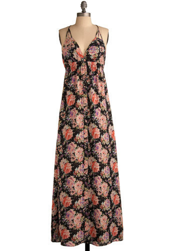 Fresh Flowers Dress - Black, Multi, Orange, Green, Blue, Pink, Tan / Cream, Floral, Braided, Buttons, Casual, Maxi, Sleeveless, Spaghetti Straps, Spring, Summer, Long, Press Placement