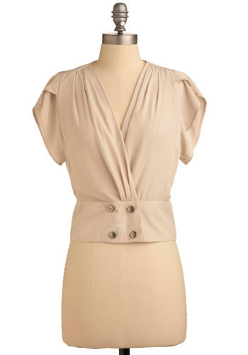 Top of Your Game - Cream, Solid, Buttons, Wedding, Party, Work, Short Sleeves, Short