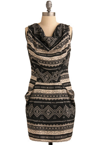 Inca Trail Dress - Black, Tan / Cream, Casual, Shift, Sleeveless, Mid-length