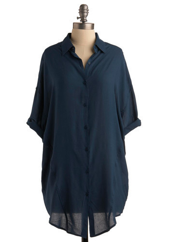 Sense of Calm Top - Blue, Solid, Work, Casual, 3/4 Sleeve, Long