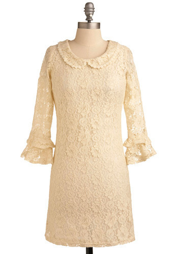 Dandelion Wishes Dress - Cream, Floral, Lace, Ruffles, Wedding, Party, Casual, Shift, 3/4 Sleeve, Short