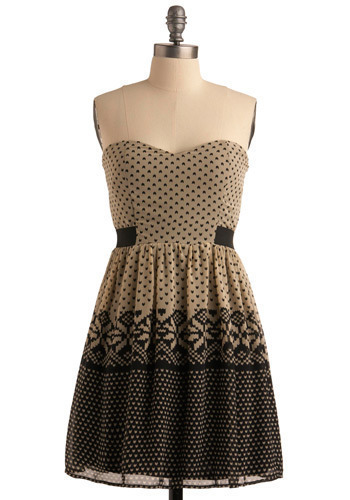 Falling for You Frock - Cream, Black, Casual, A-line, Strapless, Mid-length