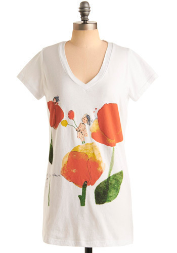 Fantasy Floral Tee - White, Orange, Yellow, Green, Floral, Print, Casual, Short Sleeves, Spring, Summer, Long