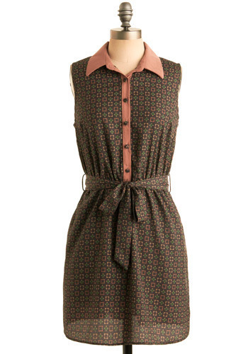 Shape, Rattle, and Roll Dress - Multi, Green, Tan / Cream, Print, Buttons, Casual, Sheath / Shift, Shirt Dress, Sleeveless, Spring, Orange, Blue, Short