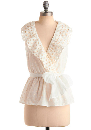 Maiden Lane Blouse - White, Solid, Cutout, Eyelet, Scallops, Casual, Sleeveless, Spring, Summer, Mid-length