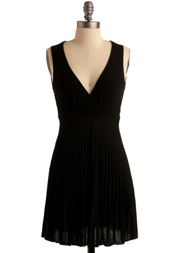 Sashay Around Dress - Black, Solid, Knitted, Pleats, Wedding, Party, Casual, A-line, Sleeveless, Tank top (2 thick straps), Short