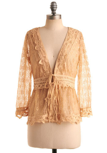 Portrait of a Lady Cardigan - Yellow, Cream, Floral, Lace, 3/4 Sleeve, Mid-length