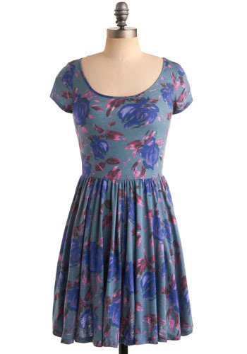 Ashta Dress - Blue, Purple, Pink, Floral, Casual, A-line, Short Sleeves, Short